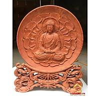 Đĩa gỗ trang trí phật thích ca bằng gỗ hương đường kính đĩa 30 - 35 - 40 cm dày 4 cm