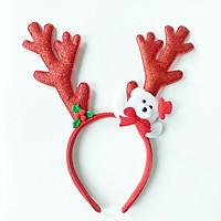 Băng đô cài tóc Noel sừng tuần lộc lấp lánh size lớn đủ màu sắc phối gấu tuyết trắng đáng yêu nổi bật – NOEL013