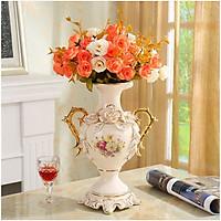 Bình hoa trang trí họa tiết hoa phù dung vẽ vàng BH20