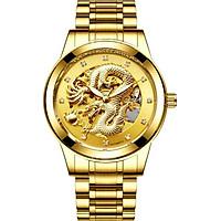 Đồng hồ cơ thời trang nam chạm rồng vàng nổi 3D