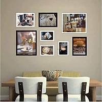 Bộ khung ảnh treo tường composite Cà phê 8 tặng đinh 3 chân  KA240