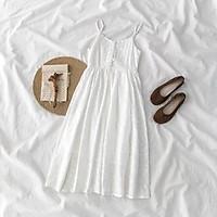 váy trắng hai dây dáng xoè thêu hoa nhí chìm ulzzang hàn quốc