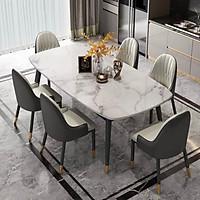 Bộ Bàn Ăn Luxury Chân Bọc Núm Đồng Siêu Phẩm của Năm BBDP-02 - Kích Thước 1.6m x 80cm và 6 Ghế Ăn - (Màu ghế ngẫu nhiên)
