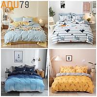 Bộ Ga Giường Và Vỏ Gối Cotton ADU79 Bedding Đủ Kích Thước Trải Nệm mềm mịn 1m4, 1m6, 1m8 Chưa Gồm Chăn