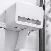 Adhesive Toilet Paper Holder No Drilling Waterproof Wall Mounted Tissue Dispenser Compatible with Roll Paper V/ N Folded