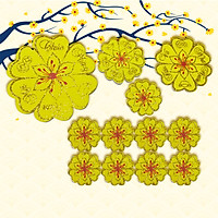 Combo 12 Bông Hoa Mai Vàng Xốp Chúc Mừng Năm Mới Trang Trí Nhà Cửa Đón Tết