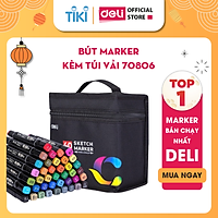 Bút màu marker chuyên nghiệp Deli -kèm túi vải - 30/40/60/80 Màu - 70806