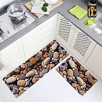 Bộ 2 miếng thảm bếp 3D chống trơn bám sàn hình Chân đá siêu đẹ