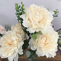 Binh Hoa Giả - Hoa Mẫu Đơn Nở Cao Cấp  - Hoa Vải Để Bàn - HOA039