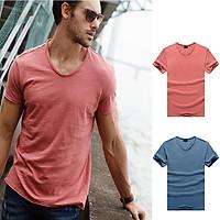 Men Summer V-neck Solid Color Slim Short Sleeve Thin T-shirt