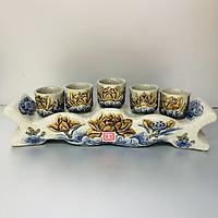 Bộ cúng nước 5 ly men rạn hoa sen đắp nỗi -TL296