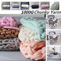 Chunky Yarn DIY Knit Knitted Blanket Warm Thick Line Cotton Washable Throw Rug-    Blue