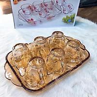 Bộ 6 cốc thủy tinh hoa sen vàng