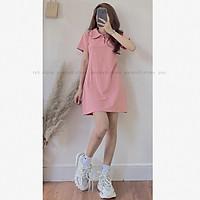 Váy Polo Thun Trơn Màu Pastel Cộc Tay Nữ - Đầm suông dáng ngắn ôm body thiết kế sexy, gợi cảm style Ulzzang