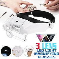 Portable Head Wearing Magnifying Glass Double Eye Jeweler Watch Clock Repair Magnifier Loupe with 3 LED Light