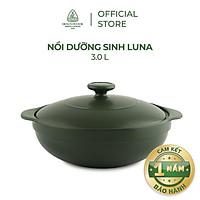 Nồi sứ dưỡng sinh Minh Long - Luna 3.0 L + nắp dùng cho bếp gas, bếp hồng ngoại