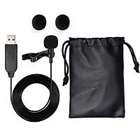 USB Microphone Lavalier Clip-on Omnidirectional Condenser Mini Mic For Laptop PC MacBook - Black