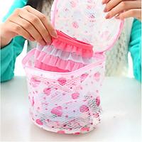 Bộ 2 túi lưới giặt đựng đồ lót vớ tất đồ trẻ sơ sinh có dây khóa và móc phơi khô chất liệu lưới tổ ong đường kính 15CM