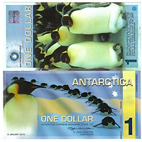 Tiền thế giới, Tờ tiền lưu niệm 1 dollar Nam Cực, hình ảnh con chim cánh cụt, bảo an tiền thật
