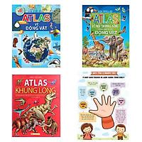 Combo 3 cuốn kiến thức bách khoa bổ ích: Atlas Về Các Loài Động Vật + Atlas Môi Trường Sống Của Các Loài Động Vật + Atlas Khủng Long + Poster an toàn