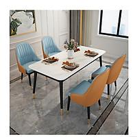 Bộ Bàn Ăn Luxury Chân Bọc Núm Đồng Siêu Phẩm của Năm BBDP-02 - Kích Thước 1.6m x 80cm và 4 Ghế Ăn - (Màu ghế ngẫu nhiên)