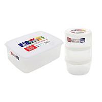 Combo hộp thực phẩm 3000ml + Set 03 hộp hộp chia thức ăn dặm cho bé 180ml Nakaya Nhật Bản (K233# K.142#)