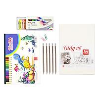 [Tặng ấn phẩm vẽ] Bộ giấy, màu vẽ cơ bản Hồng Hà  Vở, giấy vẽ A4, 5 bút chì gỗ có tẩy và hộp 16 màu phấn dầu Pentel PHN-16 61185