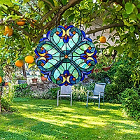 10'' Colorful Stained Glass Window Panel Sun Catcher Outdoor Garden Decor
