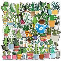 Sticker 50 miếng hình dán Green plant