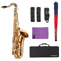 ammoon Saxophone Bb B-flat Tenor Saxophone Gold-plated Sax with Mouthpiece Carrying Case Neck Strap Cleaning Cloth Brush