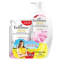 Sữa tắm hương nước hoa dưỡng da Enchanteur Romantic 650g - Tặng Túi sữa tắm Romantic 200g
