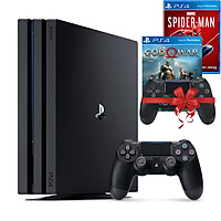 Bộ máy PS4 Pro 2TB CUH-7218C kèm 2 tay bấm + 2 đĩa game God Of War, Spider Man - Playstation Hàng chính hãng
