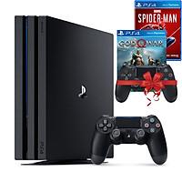 Bộ máy PS4 Pro 1TB CUH-7218B  kèm 2 tay bấm + 2 đĩa game God Of War, Spider Man - Playstation Hàng chính hãng
