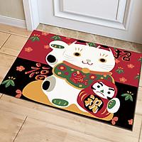 Thảm Nhà Bếp Mèo Thần Tài Vẫy Tay Maneki Neko Lau Chùi Chân Chống Trơn Trượt 40x60cm Trang Trí Nhà Cửa