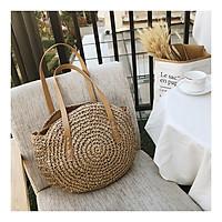 Túi cói đi biển, túi hình tròn phong cách Vintage