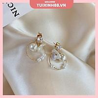 Khuyên Tai Hình Tròn Đính Hoa Ngọc Trai Phong Cách Hàn Quốc Thời Trang Nữ Dễ Thương MS0425