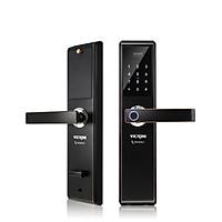 Khóa cửa điện tử VICKINI 39888.001 GYM-AC nâu nho. Mở bằng vân tay, mật mã, thẻ từ, chìa cơ. Hàng chính hãng