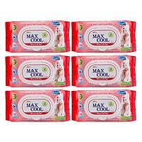 Combo 6 Gói Khăn Ướt Max Cool Có Hương MC100-04 (100 Tờ x 6) - Đỏ