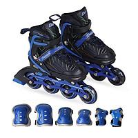 Combo Giày trượt patin K500 Xanh+ bộ bảo hộ tay chân
