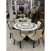 Bộ bàn ăn tròn mặt đá nhập khẩu 1M3(6 ghế)