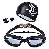 Bộ kính bơi mắt TRONG màu ĐEN 6615, gồm Mũ bơi, Bịt tai + Kẹp mũi cao cấp.