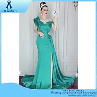 QUẢNG CHÂU Đầm maxi body dạ hội dự tiệc xếp dáng búp vai xẻ đùi san trọng THE BLUE DRESS  - size S/M ( ả