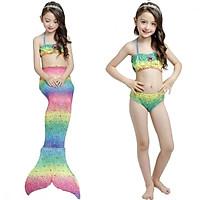 Đồ Bơi Bé Gái Bikini Tiên Cá 7 Màu Kèm Chân Vịt Nhựa