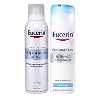 Bộ Gel Rửa Mặt Tươi Mát Eucerin Dermatoclean Refreshing Cleansing Gel (200ml) Và Xịt Khoáng Chống Lão Hóa Eucerin Aquaporin Active (150ml)