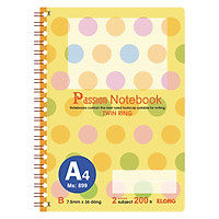Sổ lò xo kép bìa nhựa A4 - 200 trang; Klong TP899 màu vàng