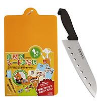 Combo Dao nhà bếp Inox có lỗ + Thớt nhựa dẻo (màu cam) nội địa Nhật Bản