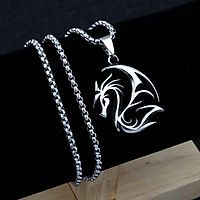 Vòng cổ nam hình rồng Châu Âu - dây chuyền hợp kim titan màu bạc