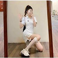 Đầm nữ dáng suông tay ngắn cổ polo in hình gấu dễ thương 2 màu đen trắng from dưới 55kg