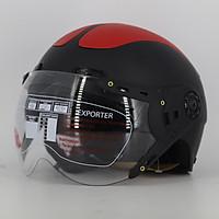 Mũ bảo hiểm nửa đầu SRT có kính hai bàn chân - Đen đáp đỏ