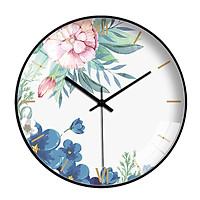 Đồng hồ treo tường tròn phong cách Bắc Âu hoa xanh mix hoa hồng 050 25cm